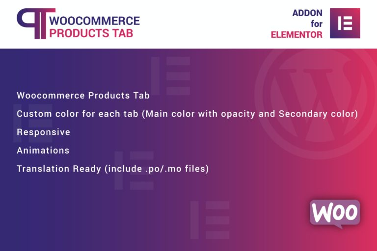 WooCommerce Products Tab Elementor Addon