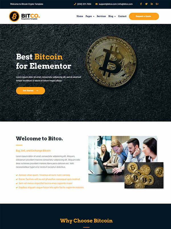 Bitco - Bitcoin & Cryptocurrency Elementor Template Kit